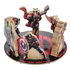 Marvel Avengers Wood Building Toy Hero Figure Kits Hulk Iron Man Thor Captain America Falcon Black Widow, Set of 6