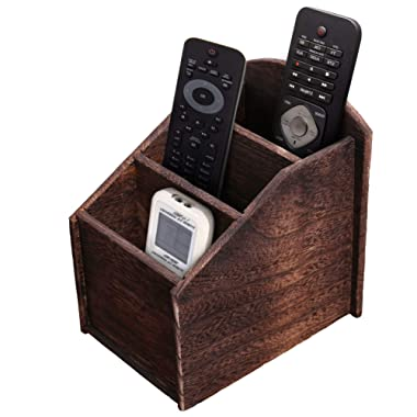 Rustic 3-Slot Wooden Remote Control Holder – Caddy Holder for Multimedia, Office or Desk Supplies – Modern Farmhouse Décor for Living Room – Distressed, Vintage Torched Brown Color