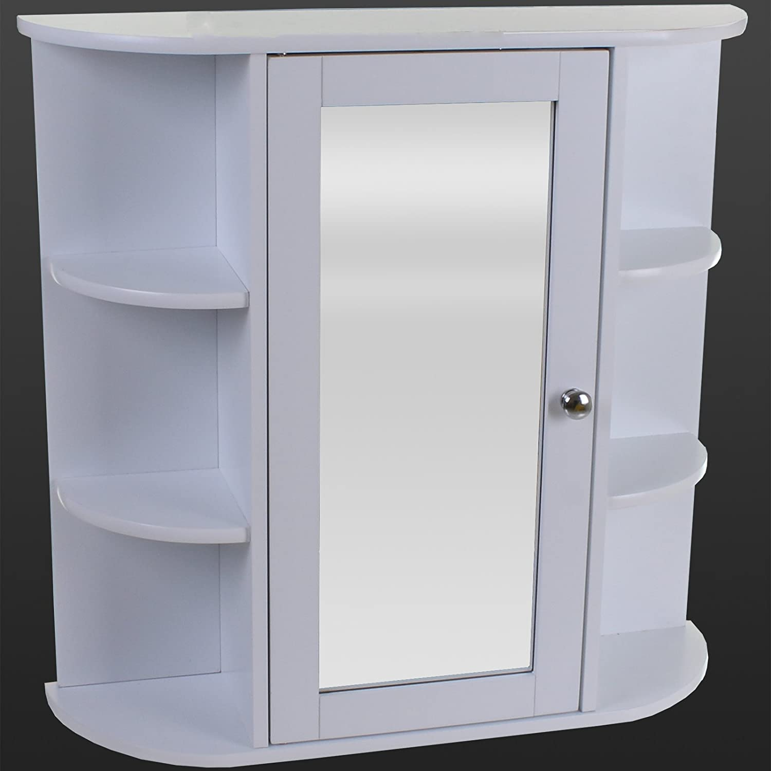White Wooden Indoor Wall Mountable Bathroom Cabinet With Shelves And Mirror Door Amazoncouk Kitchen Home