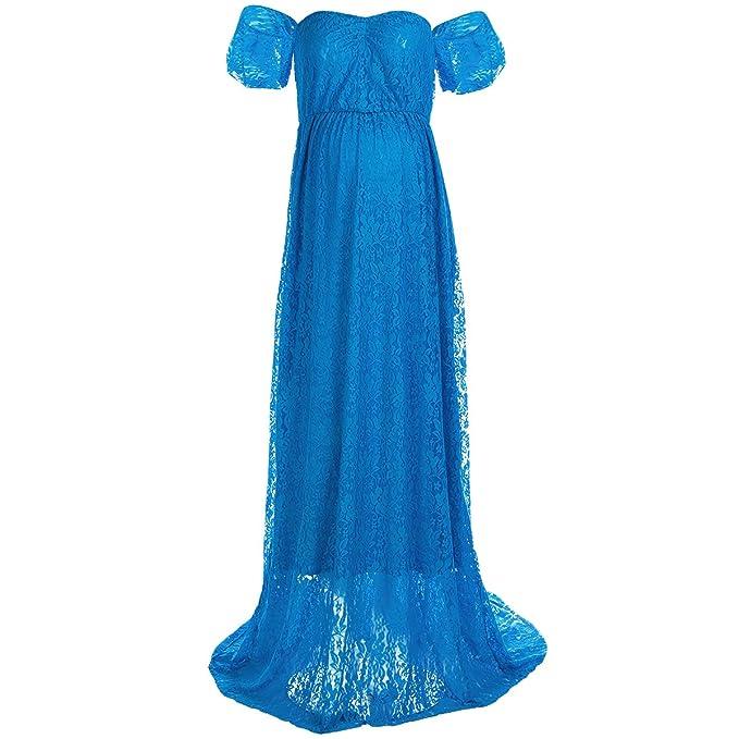 6a88b5d58 IBTOM CASTLE Vestido de Embarazada para Mujer con Hombro Descubierto ...