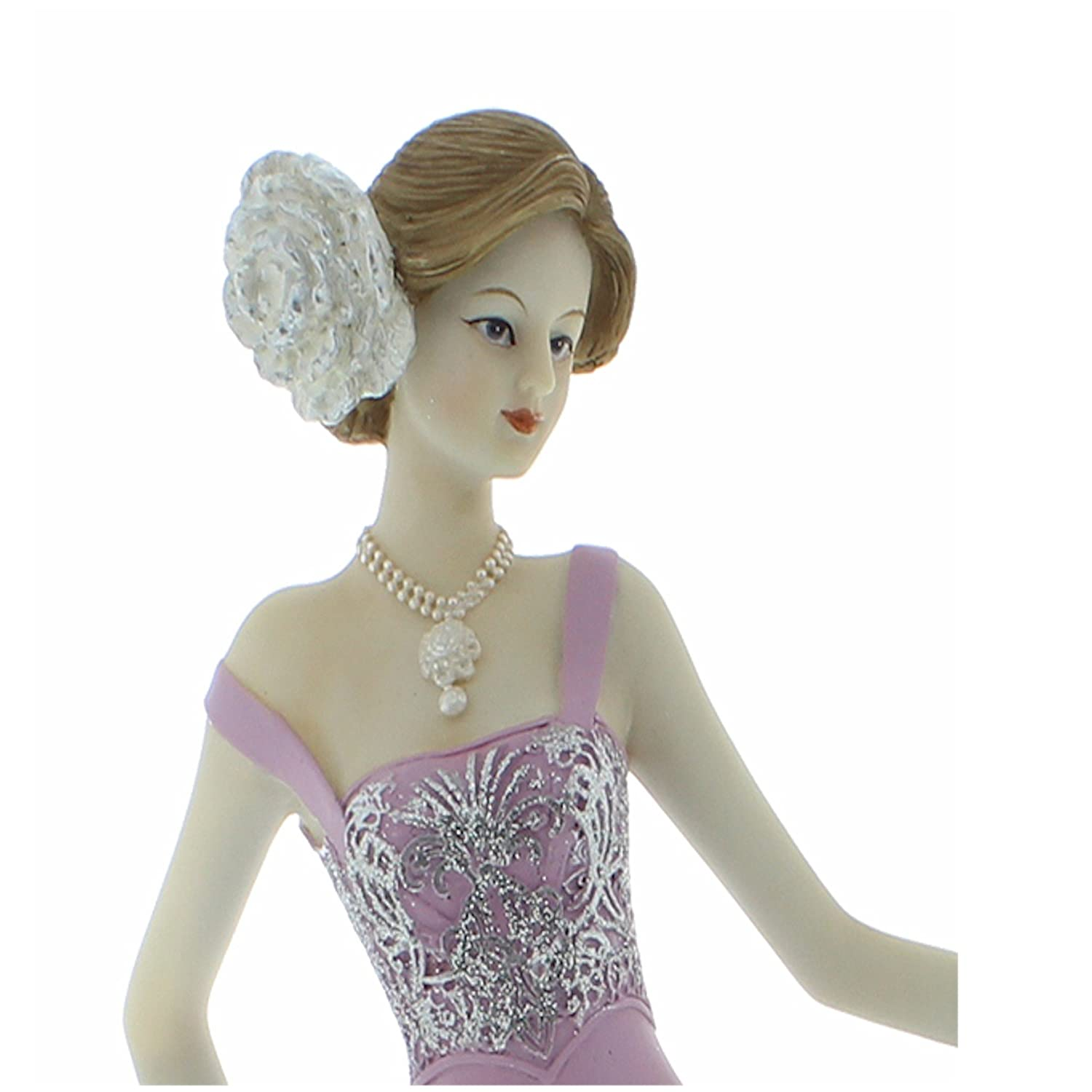 58443 Lady Standing with Clock Juliana Vintage Rose Figurine 33cm