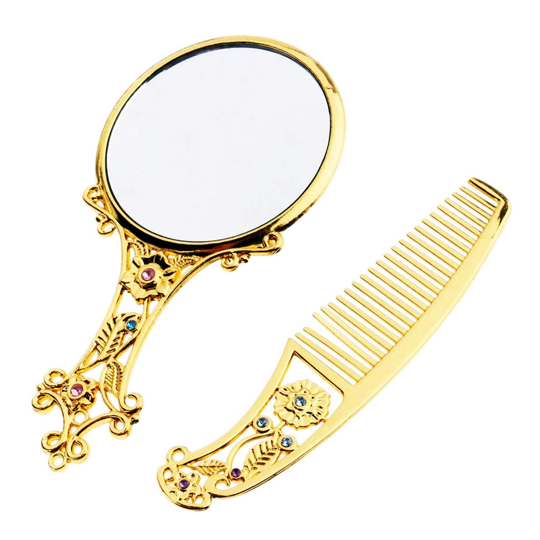 Kilimazart Rétro Miroir à Main Ensemble de Peigne CosmeticMirror Sculptures Creuses Royal Princesse Peigne de Maquillage Miroir Motif Aléatoire