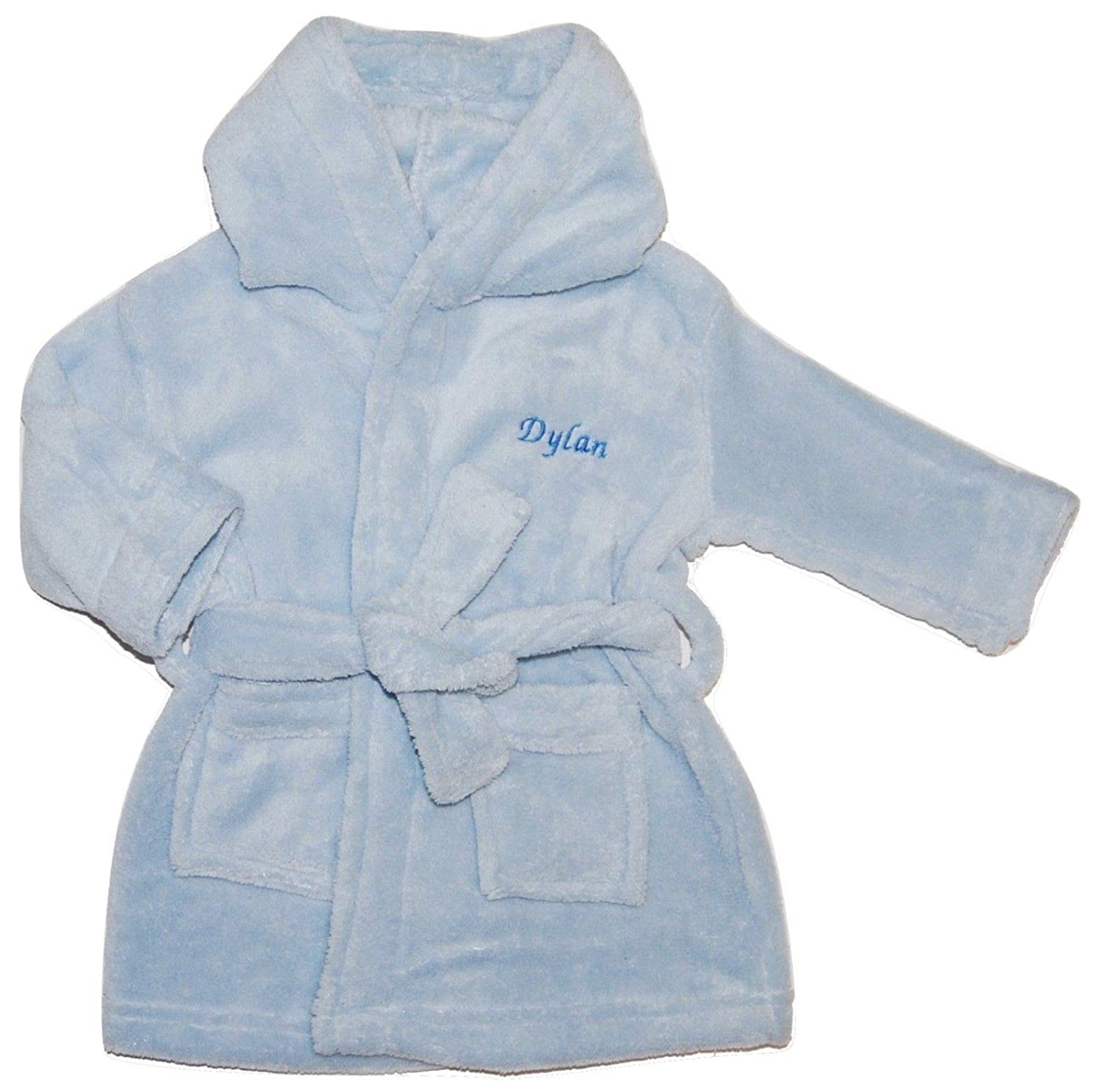 Nursery Time Baby Boy Personalised Dressing Gown Bathrobe Embroidered Blue (6-12 Months)
