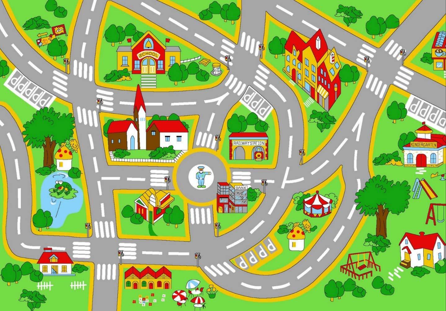 HUAHOO Kids' Rug With Roads Kids Rug play mat City Street Map Children Learning Carpet Play Carpet Kids Rugs Boy Girl Nursery Bedroom Playroom Classrooms Play Mat Children's Area Rug (39.4'' x 59'')
