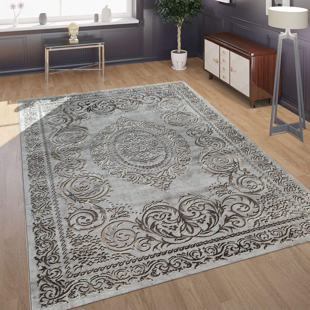 Paco Home Designer Wohnzimmer Teppich 3D Optik Orientalisches Muster In Grau Beige, Grösse 200x290 cm