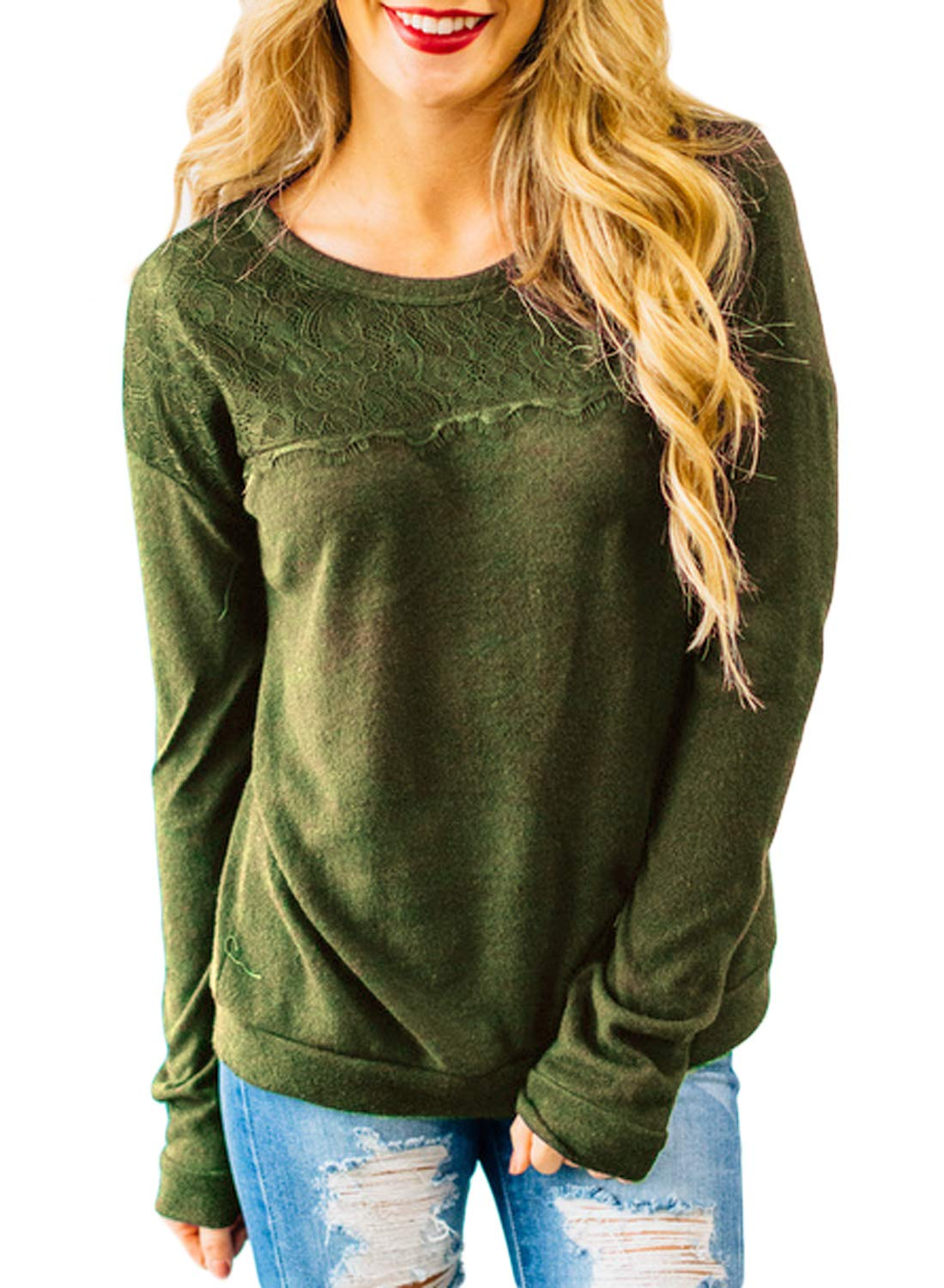 HOTAPEI Women's Crewneck Sweatshirts Pullover Lace Solid Long Sleeve Loose Casual Shirts Blouses and Tops Olive Green Medium