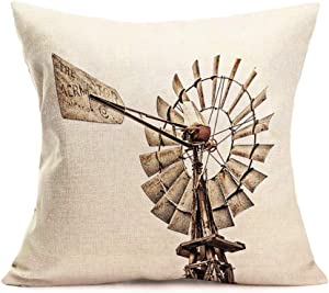 """Xihomeli Throw Pillow Cover Vintage Rural Wood Windmill Pillowcase Countryside Culture Farming Dutch Holland Design Cotton Linen Decorative Cushion Cover for Home Square 18"""" x 18"""" (Vintage Windmill)"""