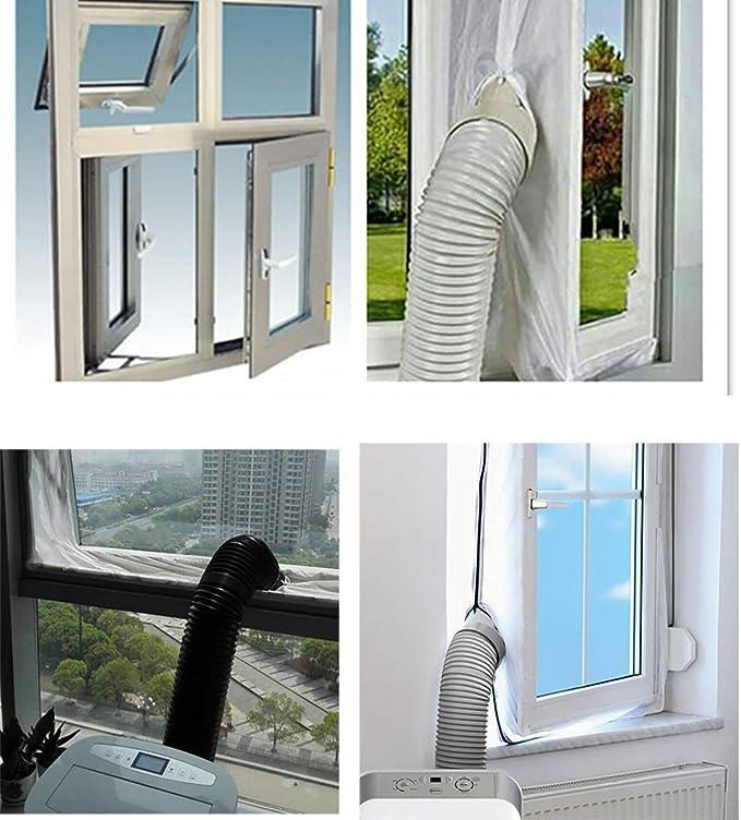 AirLock Abluft Fensterabdichtung f/ür mobile Klimager/äte Hot Air Stop Abluft Fenster Abdichtungen