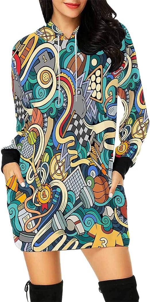 INTERESTPRINT Mens Cartoon Sport Pattern Hooded Pullover Sweatshirt