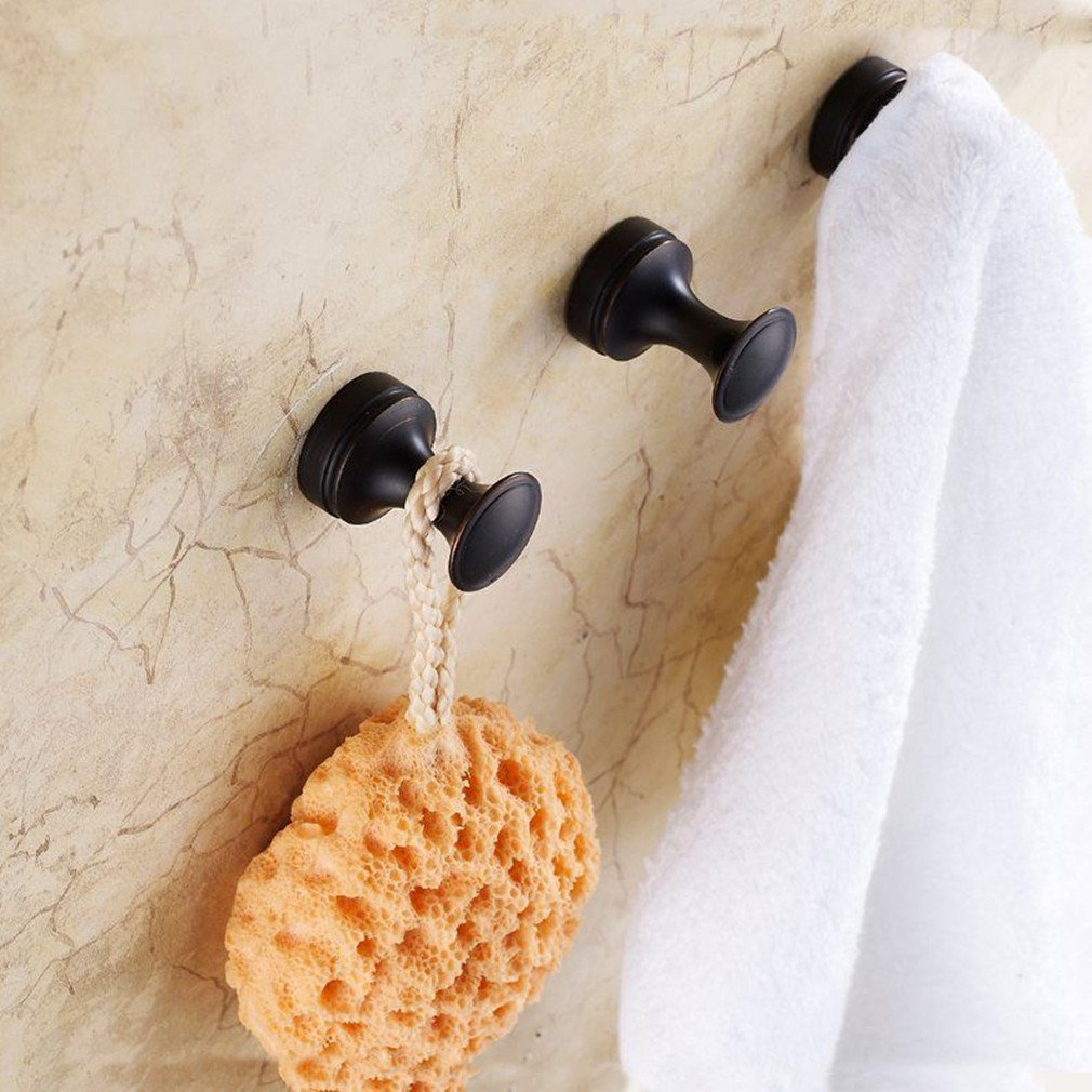 ELLO&ALLO Oil Rubbed Bronze Hooks Robe/Coat /Hat/Clothes Anti-rust Hangers Wall Mounted with Concealed Screws Bathroom Shower and Bath Sponge Bath Towel Hooks, Three-Piece by Ello&Allo