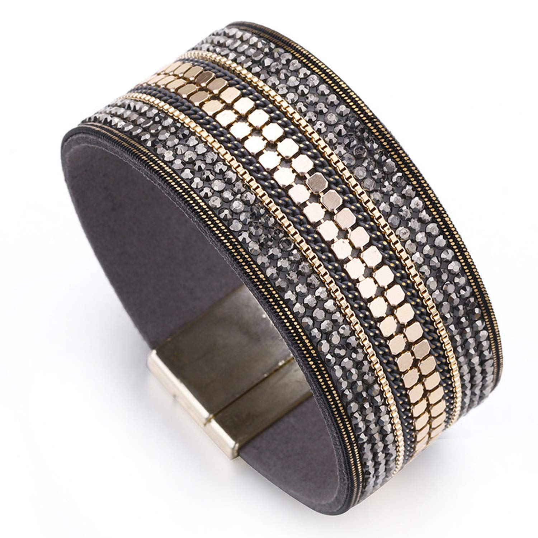 Tea language Wide Leather Bracelet Woman Trendy Metal Sheet Crystal Paved Magnet Clasp Boho Wrap Bracelets