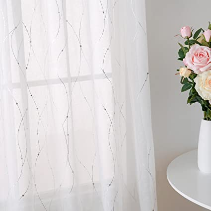 Deconovo Rod Pocket White Sheer Curtains 63 Dots Printed Linen Look Volie Window Curtain