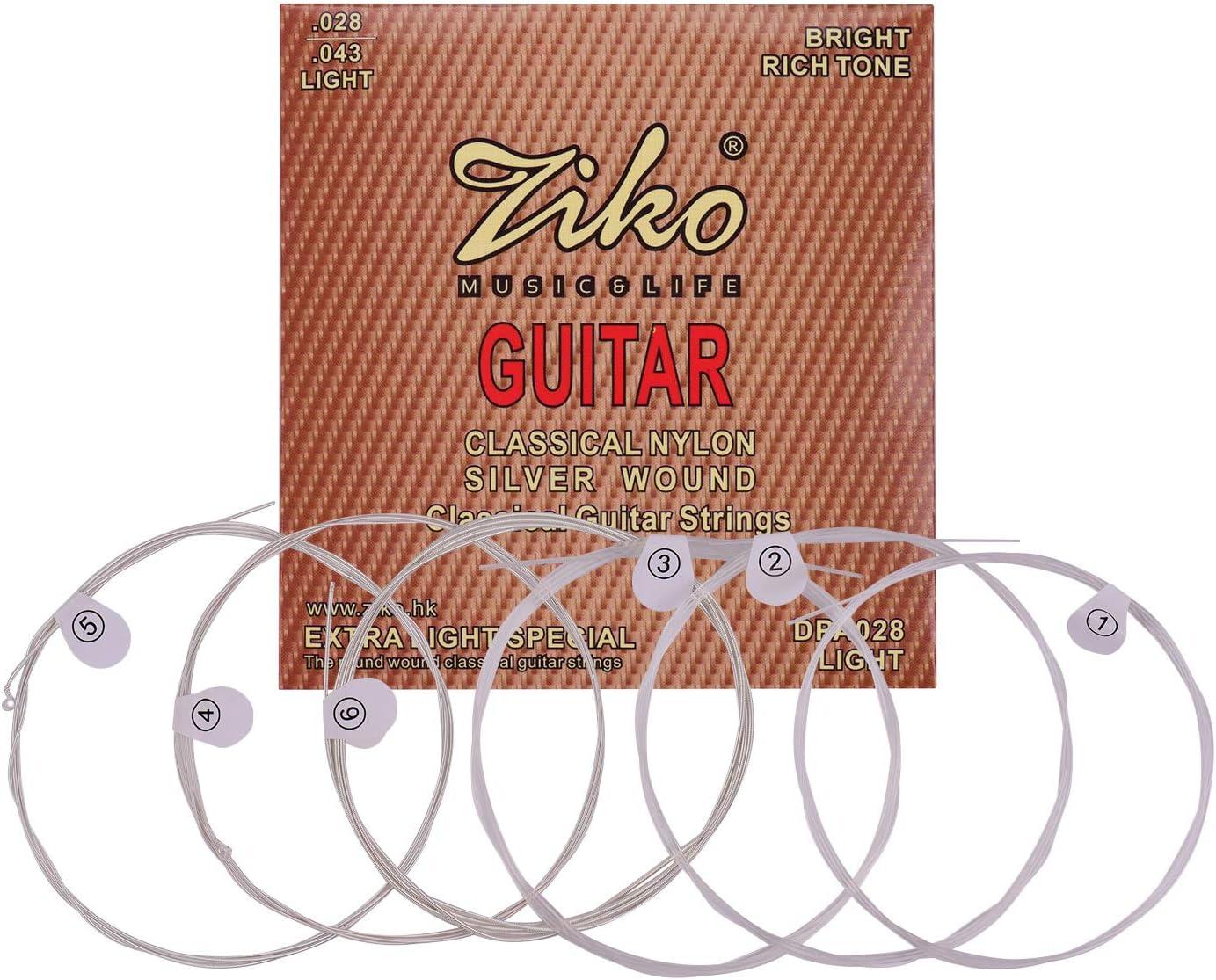 Muslady ZIKO Cuerdas de Guitarra Clásica Tensión de Luz Normal Cuerda de Nylon de Cuerda Plateada Conjunto Antioxidante de 6 piezas Accesorios de Cuerda de Instrumentos Musicales