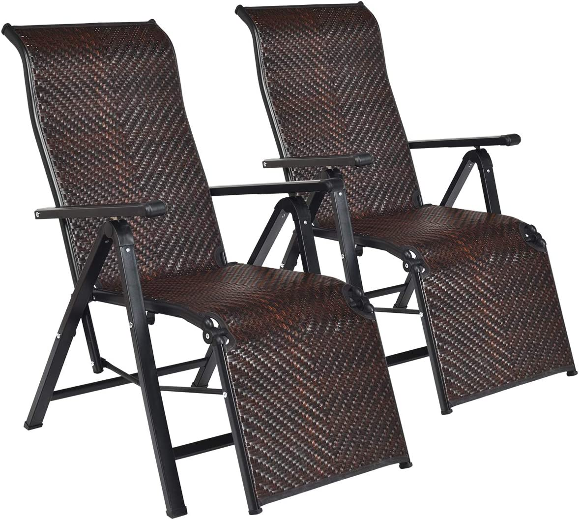 Tangkula 2 Pcs Folding Reclining Rattan Chair, Portable Chaise Lounge Chair w Adjustable Positions, Outdoor Lounge Chair with Wide Armrest, Sturdy Steel Frame for Garden, Patio, Beach 2