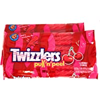 2 Packs of Twizzlers Licorice Christmas Candy, Cherry Pull N' Peel, 396g Each