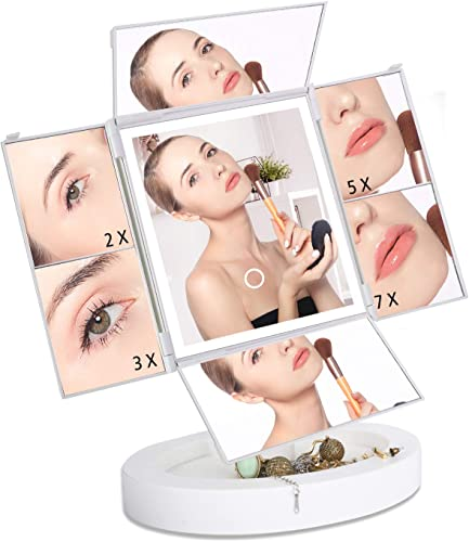 Makeup Vanity Mirror with Lights 2X 3X 5X 7X Magnification, LED Dimmable Mirror with Touch Screen, 360 Horizontal 180 vertical Rotation, Dual Power Supply, Portable Quadruple fold Makeup Mirror
