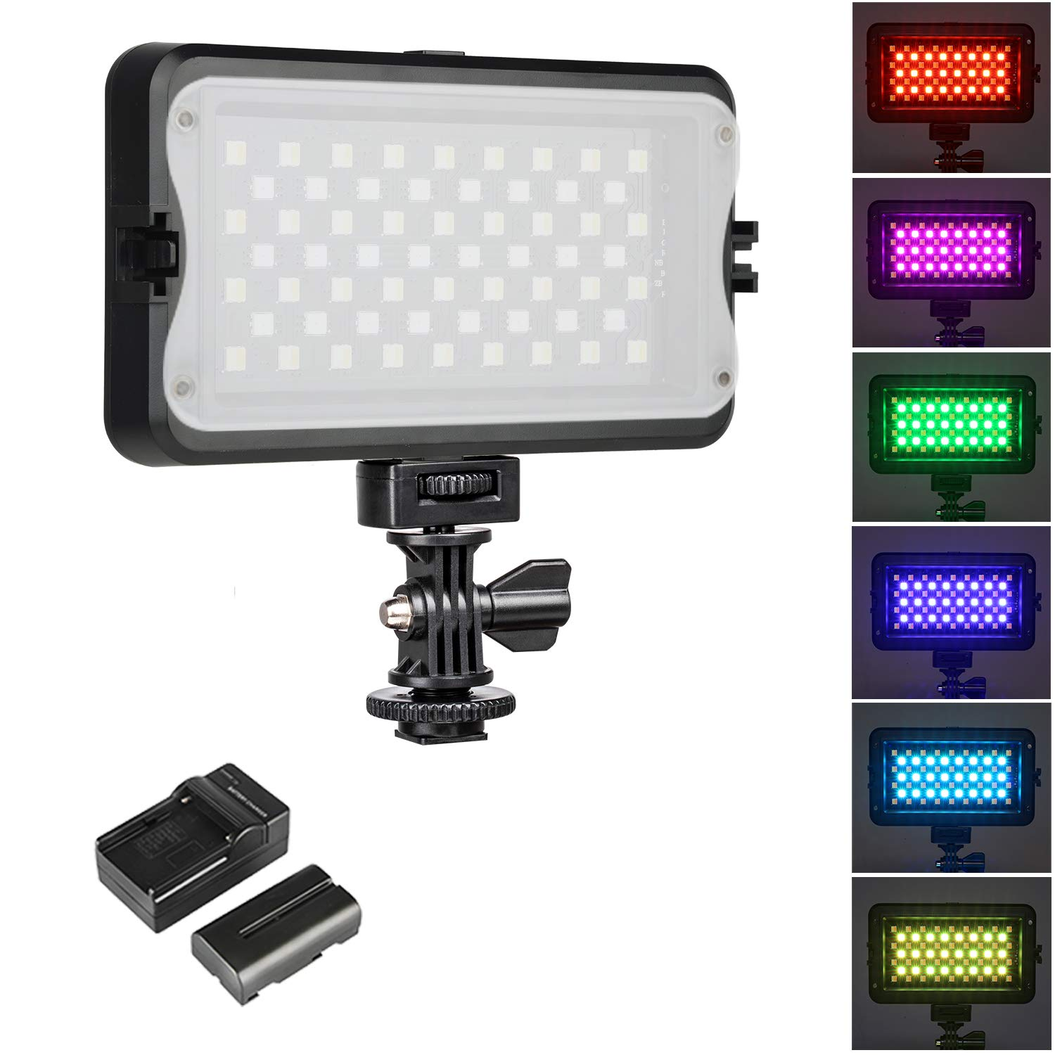 [Upgraded] RGB LED Camera Video Light, Dimmable 2500K-8500K Camcorder LED Light Panel for Digital SLR Cameras with 0-299 Muti-Color Types, White Filter, Battery and Charger by VILTROX