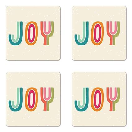 Amazoncom Lunarable Joy Coaster Set Of Four Colorful Hipster
