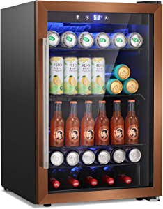 RMYHOME Beverage Refrigerator, Wine Cooler, 120 Can Mini Drink Cooler Dispenser for Beer or Wine, 4.5 Cu.ft Mini Fridge with LCD Temperature Control for Office, Bar, Home or Apartment-ROSE GOLD