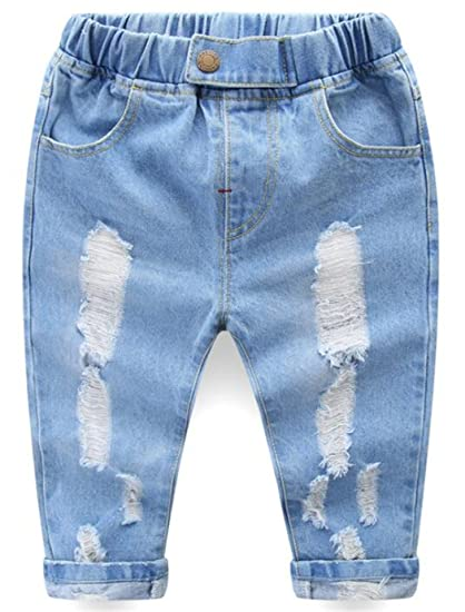 6a4917dad45 LOTUCY Baby Boys Girls Autumn Broken Holes Jeans Ripped Denim Pants Harem  Trousers Size 6-