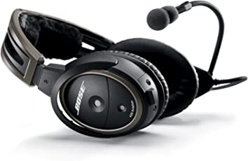 Bose Headset A20 Aviation with Standard 6-Pin Plug Cable, Color Negro