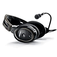 Bose A20 Aviation Headset with Bluetooth Dual Plug Cable, Black