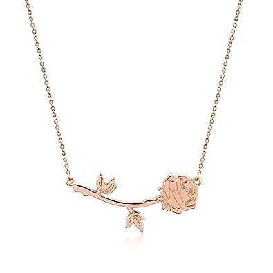 Disney Couture Collier plaqu\u0026eacute; or blanc avec rose de La Belle et