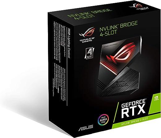 بطاقة الرسوميات جي فورس ار تي اكس ان ڤي لينك بريدج من سلسلة روج نت ايسوس مع تزامن اورا ار جي بي بأربع فتحات توصيل ROG-NVLINK-4.