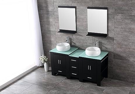 sliverylake 60 inch bathroom vanity double sink combo ceramic vessel rh amazon com 60 inch bathroom vanity double sink home depot 60 inch bathroom vanity double sink canada