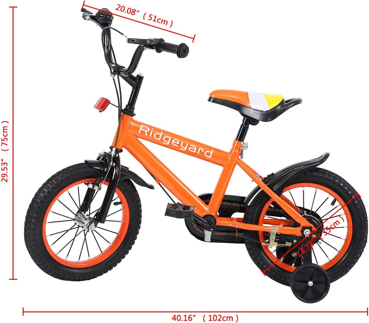MuGuang 14 Pulgadas Bicicleta Infantil Estudio Aprendizaje Montar a Caballo Bicicleta niños niñas Bicicleta con ruedines con Campana por 3-8 años (Naranja): Amazon.es: Deportes y aire libre
