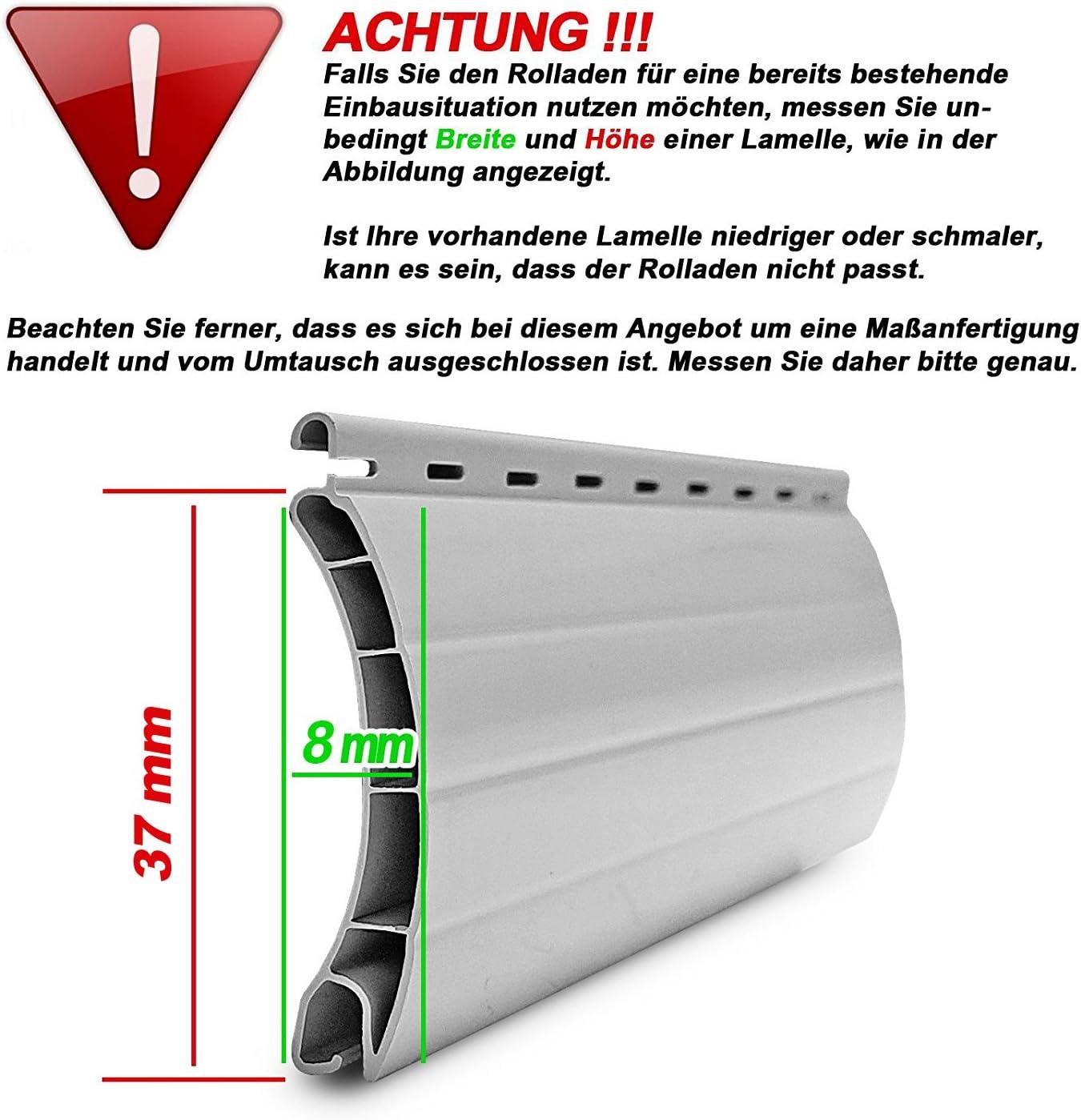 Mini Rolladenpanzer PVC 25,74 EUR//qm Ma/ßanfertigung Wunschma/ß 75cm-160cm Breite x 160cm H/öhe