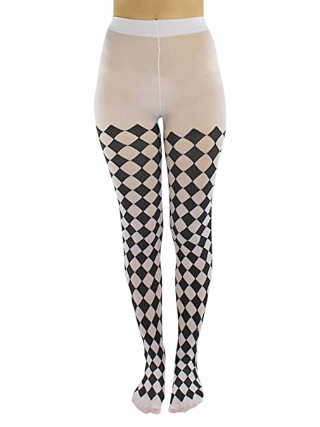 dbab691c2bf04 Black & White Jester Diamond Harlequin Tights at Amazon Women's Clothing  store: Leggings Pants