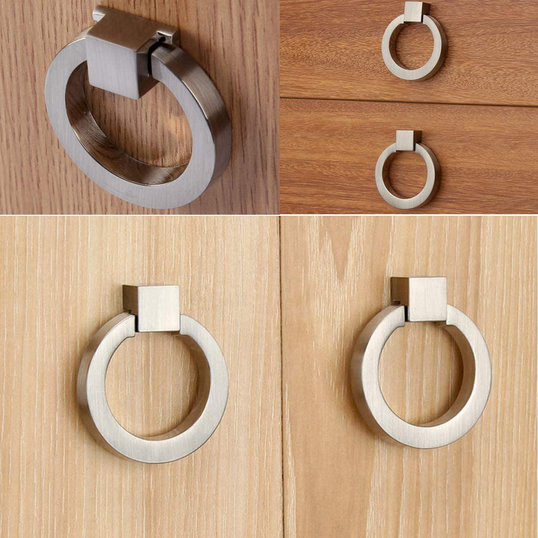 Myxekllo 4 Pcs Brushed Silver Cabinet Rings Round Ring Drawer Pull Knob for Cabinet Drawer Kitchen Bath Cabinets and Furniture Hardware-Single Hole