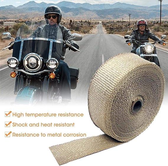 Auoker Rouleau de Film Thermique pour Tuyau d/échappement de Voiture ou Moto en Fibre de Verre avec Attaches en Acier Inoxydable 10 m