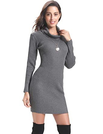 e50bc94b9c6 Aibrou Women Long Sleeve Turtleneck Cable Knit Sweater Dress Slim Pullover  Gray