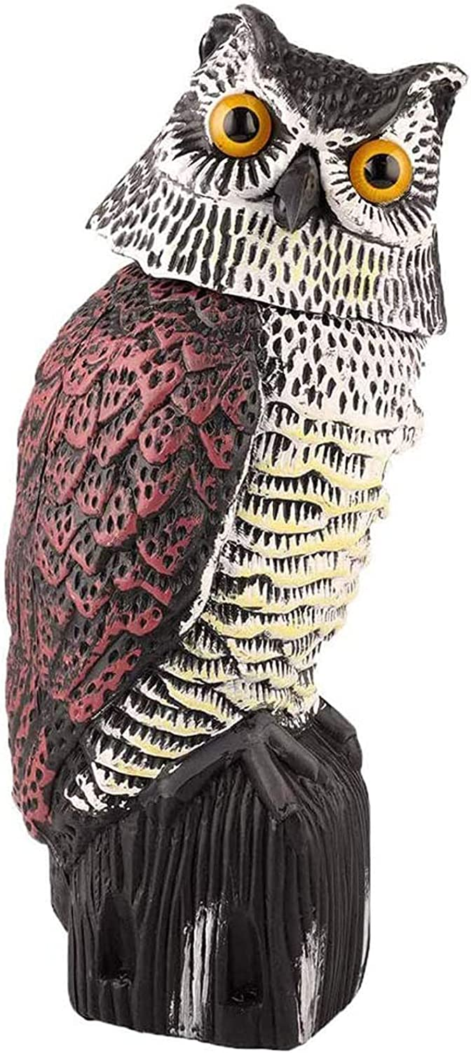 UOFEIVS Fake Owl Decoy Statue with 360 Rotating Head, Realistic Garden Scarecrow for Scare Bird/Squirrels/Rabbits/Away Garden Yard Outdoor Decoration