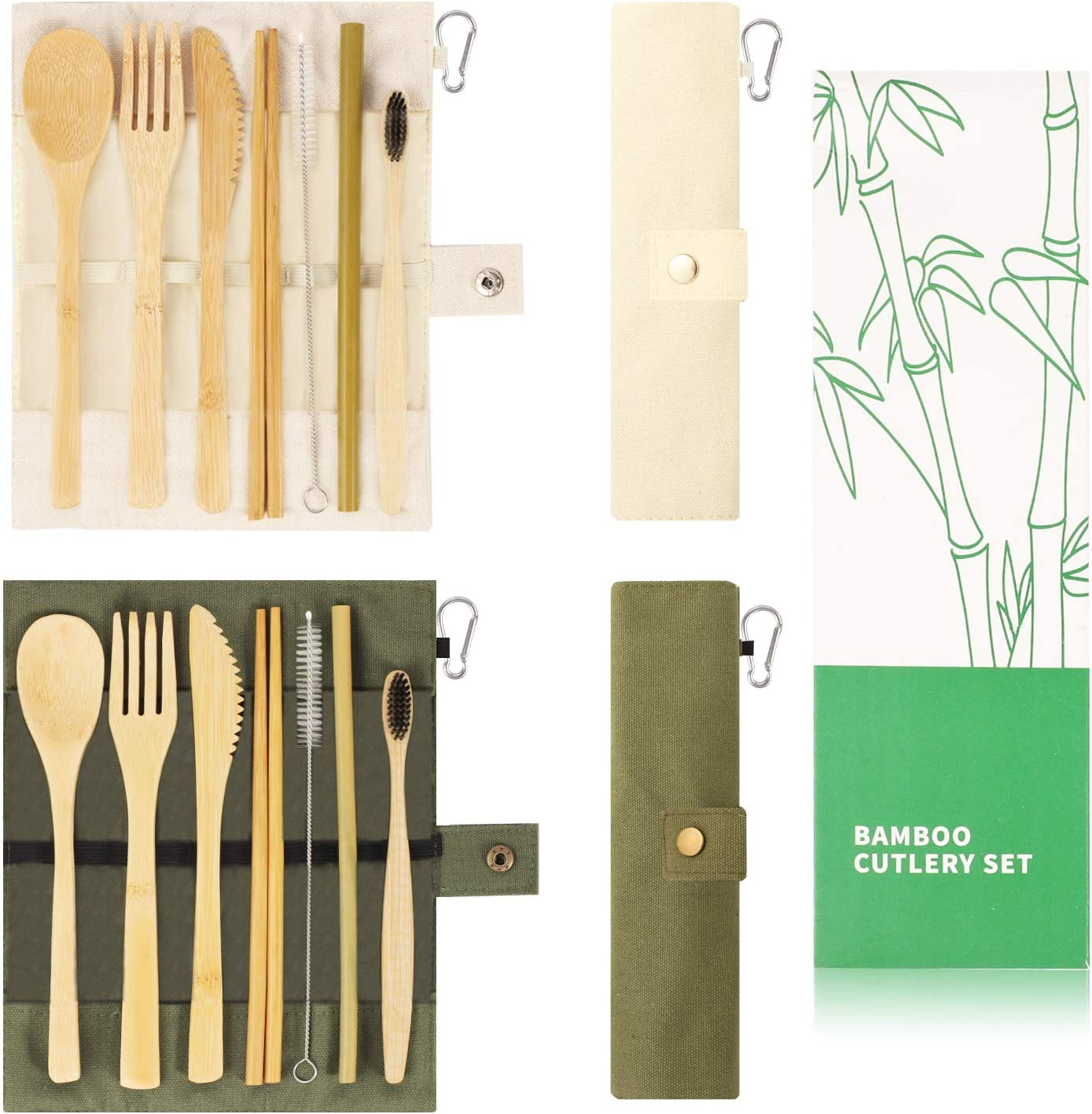 2 Set Bamboo Utensils Set, YIMICOO Travel Reusable Cutlery Set, Outdoor Portable Eco-Friendly silverware with Case -Bamboo Knife, Fork, Spoon, Straw, Straw Brush, Chopsticks and Bamboo Toothbrush