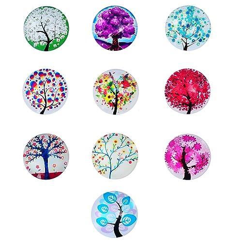housweety 10 glas cabochons perlen zum kleben lebensbaum muster 20mm dia - Perlen Weben Muster