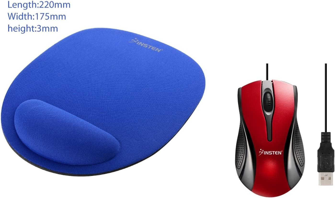 Insten Red USB 2.0 Ergonomic Optical Scroll Wheel Mouse Blue Wrist Comfort Mouse Pad