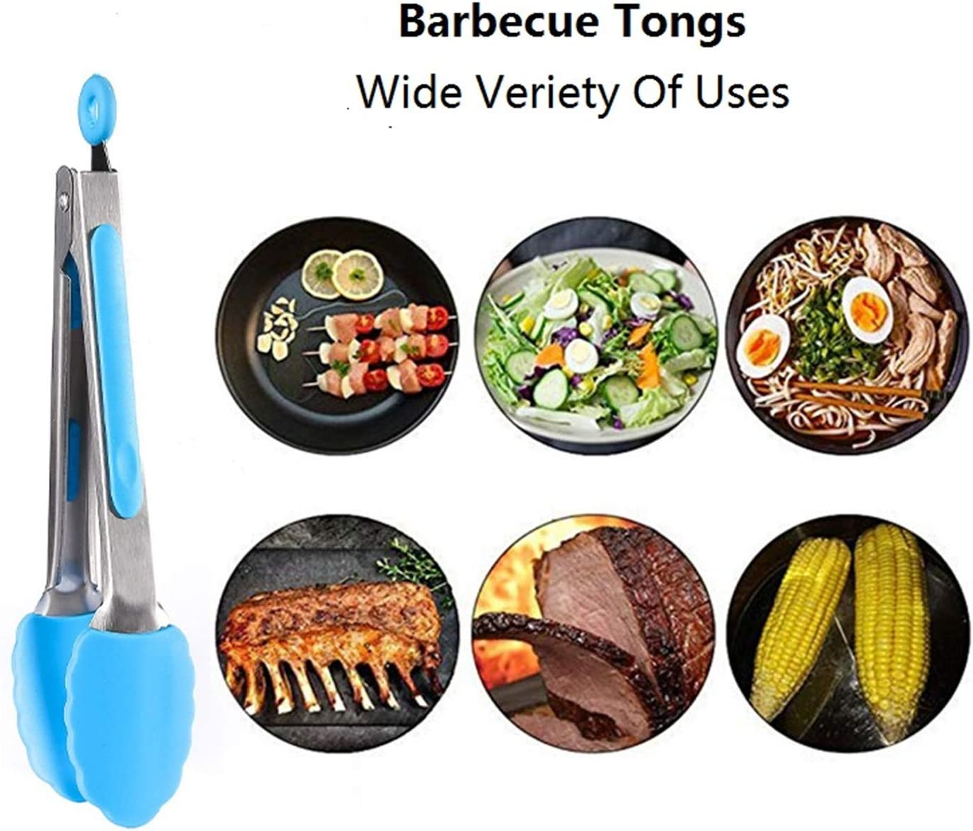 Handy Kitchen Tongs Barbecue Tongs with Silicone Tips Small Tongs Kitchen Stainless Steel Heat Resistant Size 9 Set of 3 Red Blue Green
