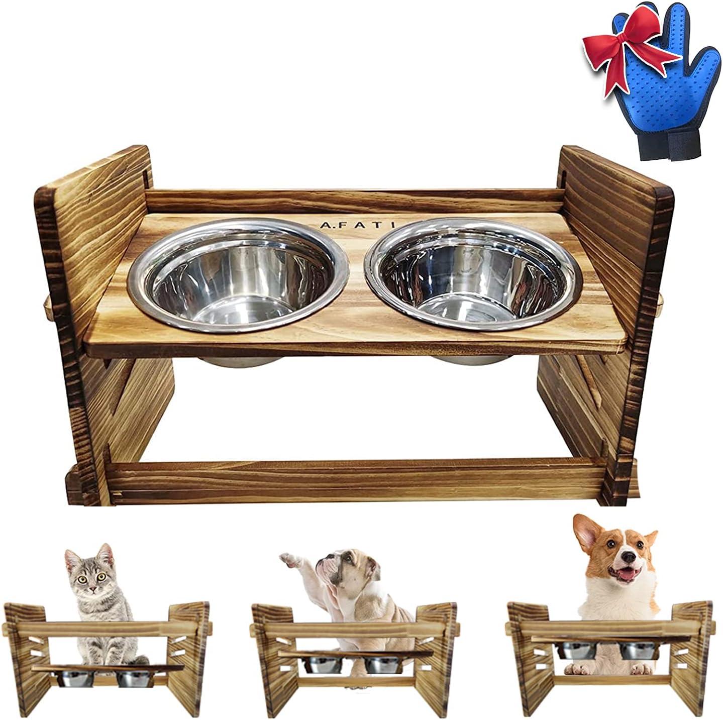 A.FATI Elevated Dog Bowls,Dog Cat Bowls Raised Dog Bowl Stand Feeder Adjustable Elevated 3 Heights,Raised Dog Bowl Stand Feeder with 2 Stainless Steel Bowls