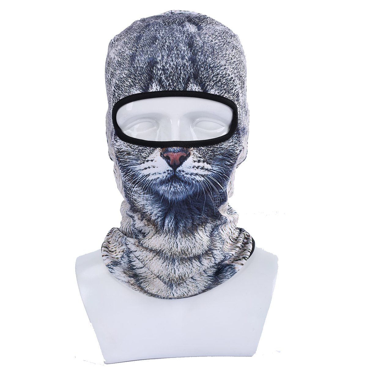 Amazon ECYC Fleece Warm Face Mask Windproof Balaclava Hood For Motorcycle Ski Winter Snowmobile Outdoor Research Cold Weather Grey Cat One Size