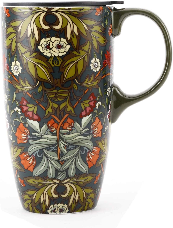 TZSSP Coffee Ceramic Mug Porcelain Latte Tea Cup With Lid 17oz. Green