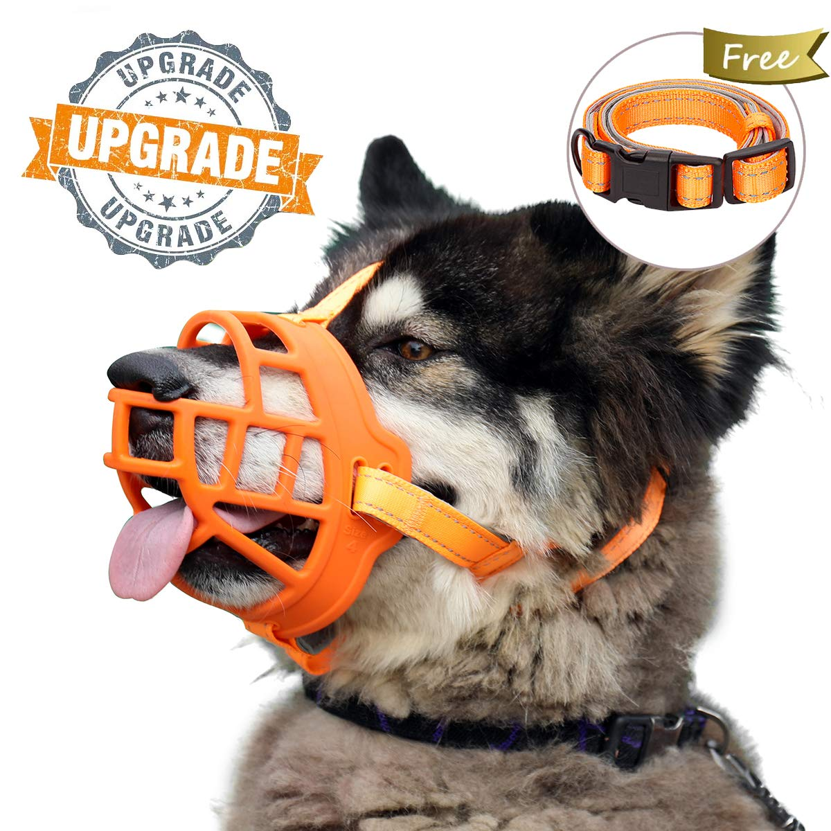 Dog Muzzle, Soft Silicone Basket Muzzle for Dogs, Allows Panting and Drinking, Prevents Unwanted Barking Biting and Chewing, Included Collar and Training Guide (2 (Snout 7.5-9.5''), Orange) by Barkless