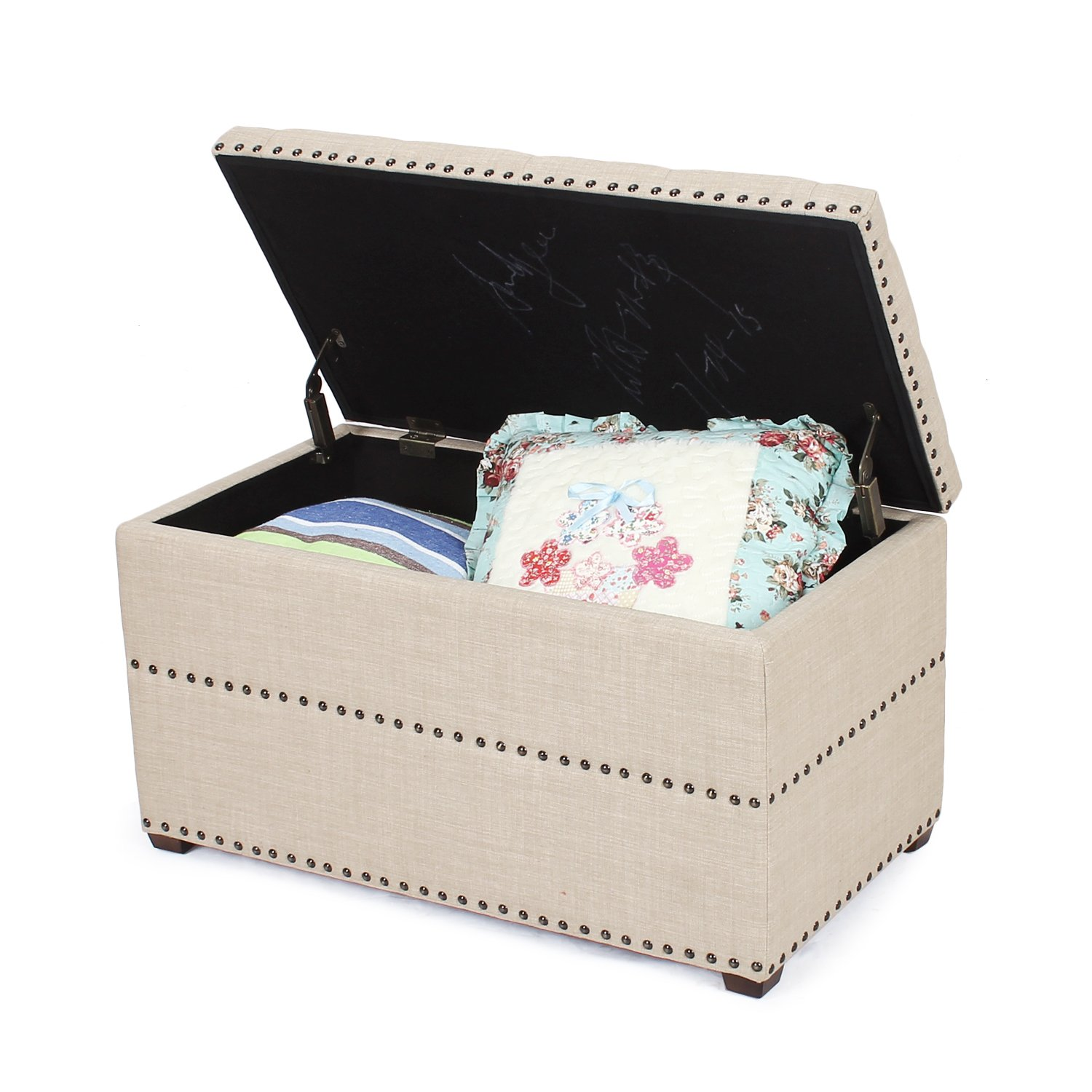 Asense 18 inch Height Fabric Rectangle Tufted Lift Top Storage Ottoman Bench, Footstool with Solid Wood Legs, Nailhead Trim Rectangular, Beige