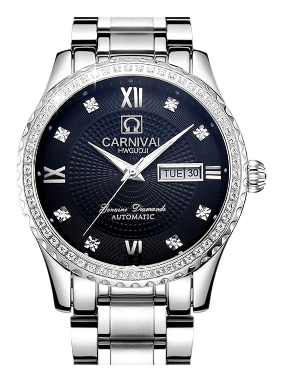 Carlien Men 's Automatic Self Winding Movement Gildedケース日付ステンレススチールDial Watches 40mm Silver&Black B073YPC6DG Silver&Black Silver&Black