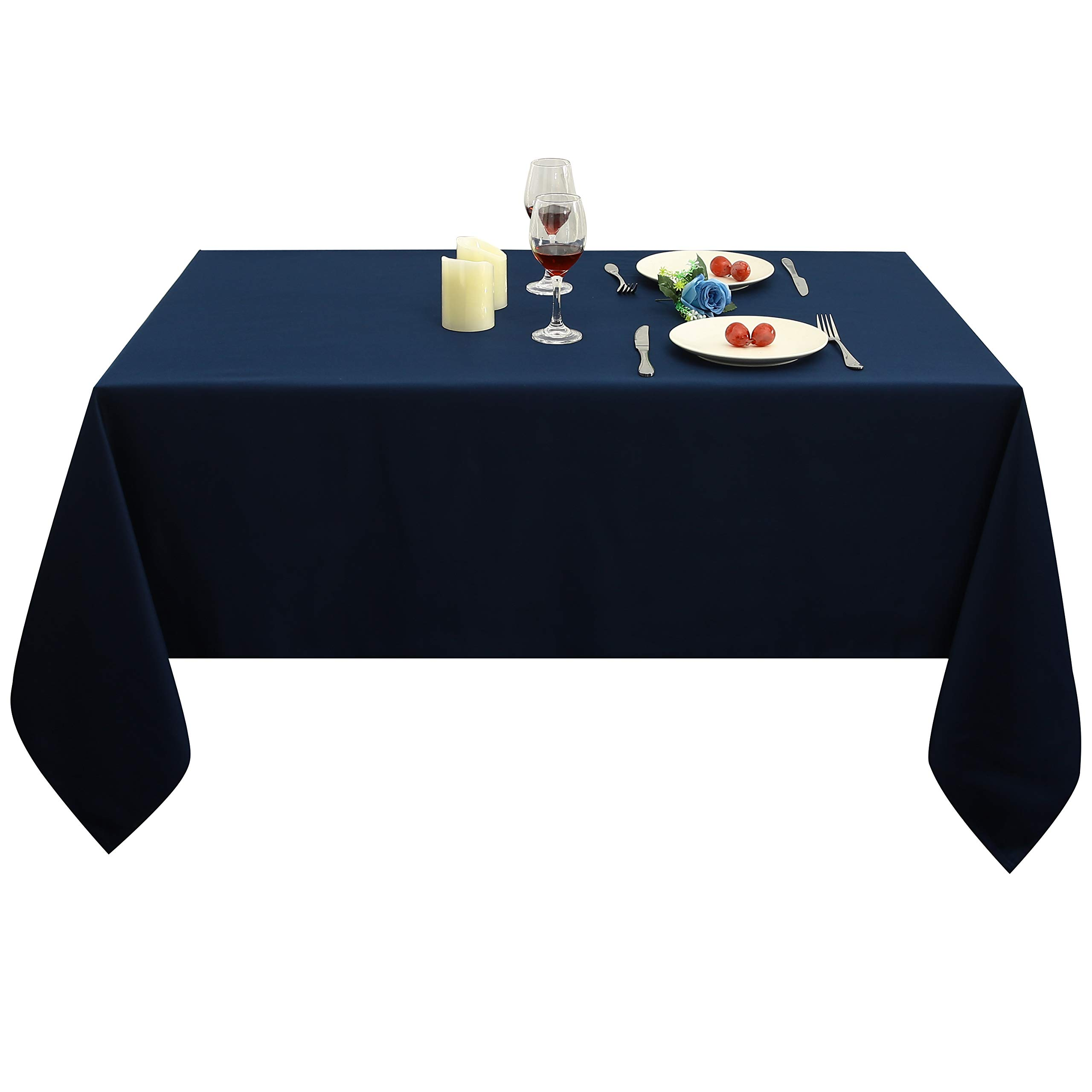 Obstal Rectangle Table Cloth, Oil-Proof Spill-Proof and Water Resistance Microfiber Tablecloth, Decorative Fabric Table Cover for Outdoor and Indoor Use (Navy Blue, 60 x 84 Inch) by Obstal (Image #3)