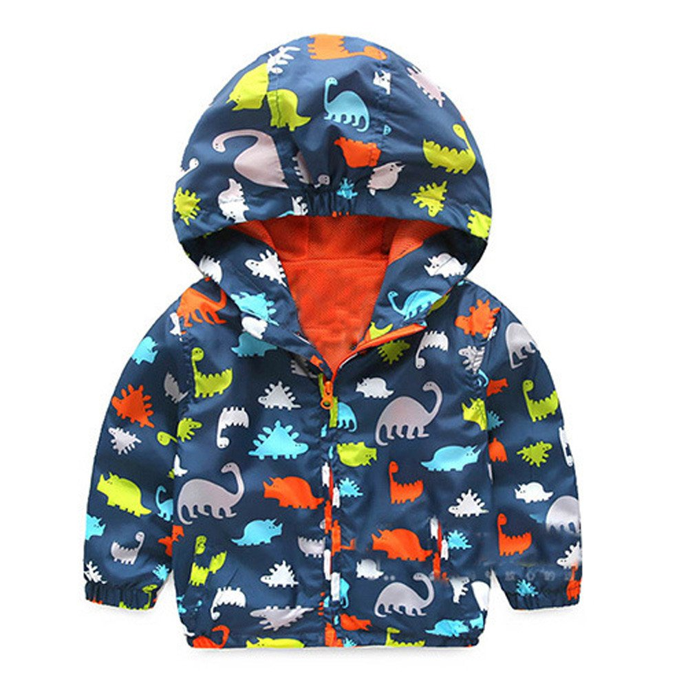 Baby Boys Girls Thick Warm Clothes Dinosaur Cartoon Hooded Zip Coat Cloak Jacket for 0-4 Years Old Baby