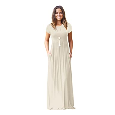 Amzbeauty Cap Sleeve Maxi Dresses For Women Round Neck Casual Dress With Pockets-Beige-