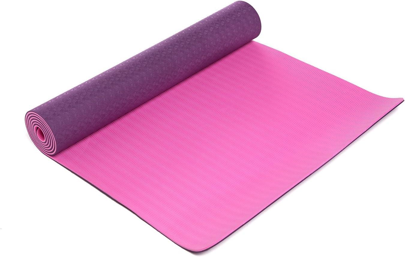 Amazon.com: BSM Dos Capa TPE Premium Ejercicio Yoga Mat Con ...